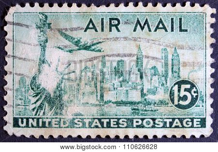 Airplane on a postage stamp