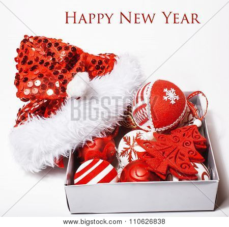 christmas decoration isolated , white background for post card greetings, toy design on tree macro