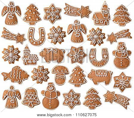 Collection of Christmas gingerbread cookies isolated on white