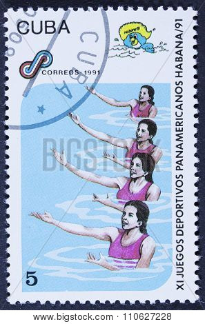 Olympic athletes on a stamp
