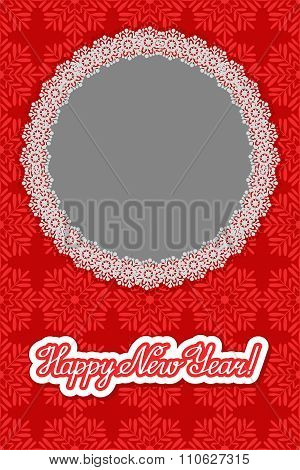 Vector Christmas Snowflakes Background With Round Frame And Inscription