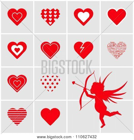 Set of red vector hearts