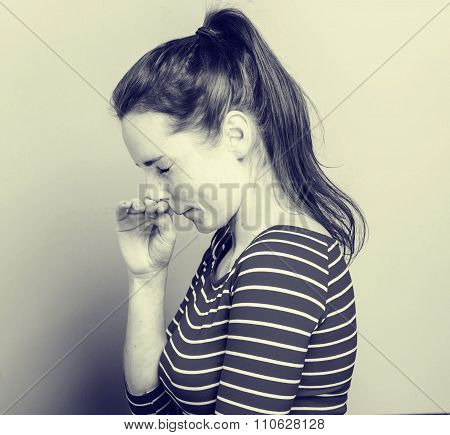 Allergy Sneeze Young Woman Scratch Nose In Fashion Stripes Clothes Hipster Casual
