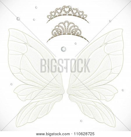 Fairy Wings With Tiara Bundled Isolated On A White Background