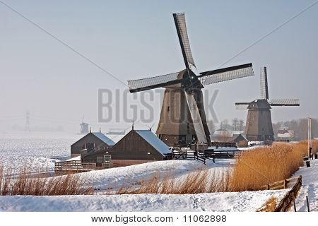 Traditonal windmills in the countryside from the Netherlands
