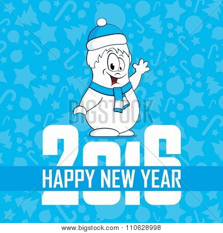 Fun snowman happy new year 2016. Vector illustration