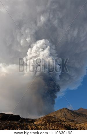 eruption from Voragine Crater of Etna Volcano, 05-12-2015 Sicily
