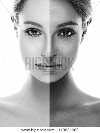 woman tan half face tan beautiful portrait black and white