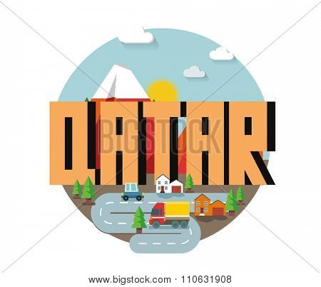 Qatar in middle east is a beautiful country to visit. vintage vector illustration.