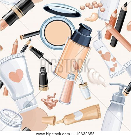 Seamless Pattern From Cosmetic Objects Cream, Face Powder,  Foun