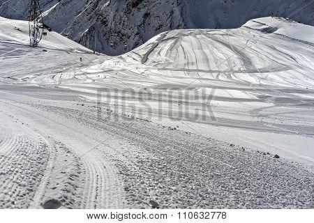 Ski Trail On Winter Resort