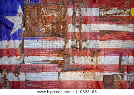 Corrugated Iron Liberia Flag