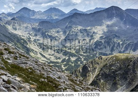 Panoramic view From Vihren Peak to Pirin Mountain