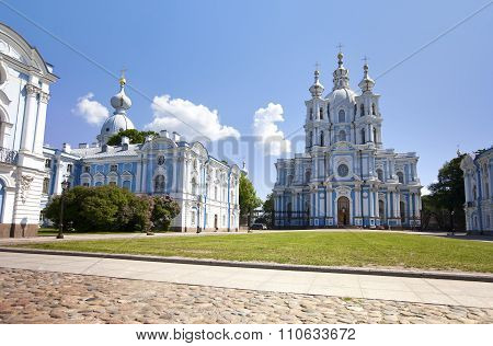 View on Smolnyi cathedral (Smolny Convent) St. Petersburg through the square of Proletarian dictator