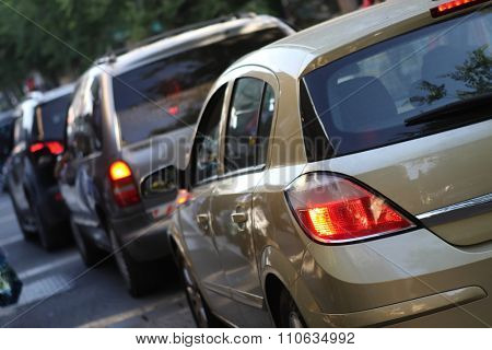 Traffic jam on city street