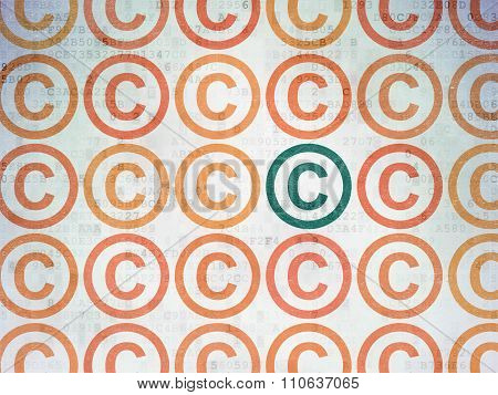 Law concept: copyright icon on Digital Paper background