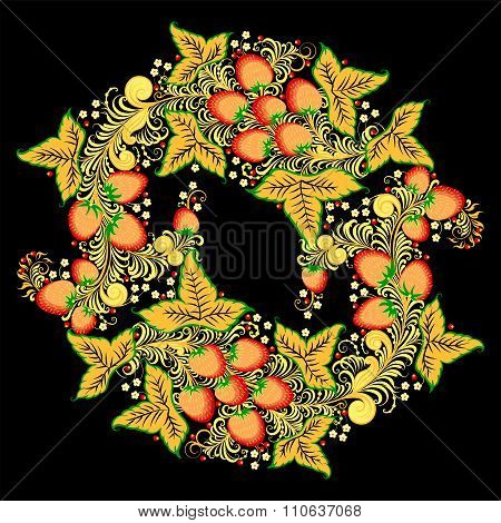 Round ornament in Khokhloma style - traditional Russian painting, with stawberries and flowers
