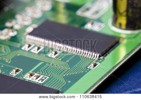 Electronic microcircuit and microchip . close up
