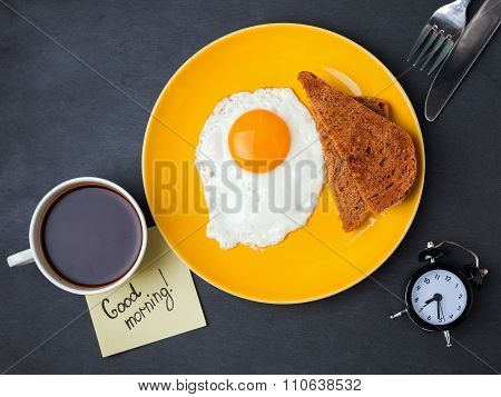 Fried Egg, Bread, Coffee And Note With Text