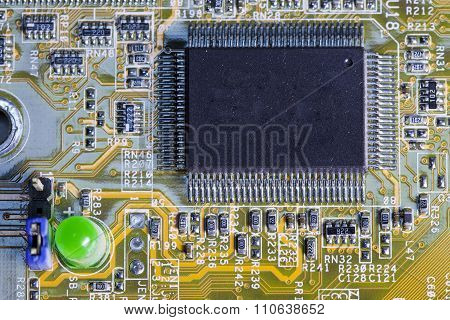 Electronic microcircuit and microchip. close up