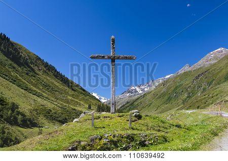 Cross Near Taschachalm In Mandarfen, Austria