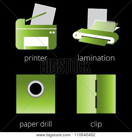 Printing shop services green icons set.