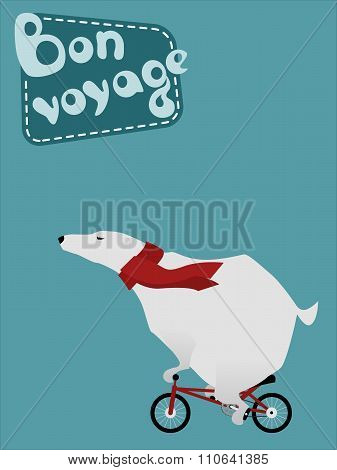 Travel large polar bear on a bicycle and Bon voyage