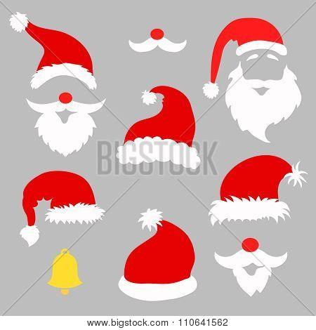 Christmas photo booth and  scrapbooking vector set Santa,