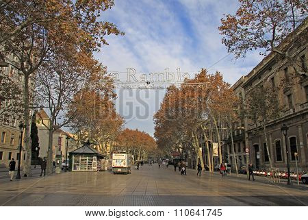Barcelona, Catalonia, Spain - December 12, 2011:  The Famous Ramblas Street  (la Rambla) Early In Th