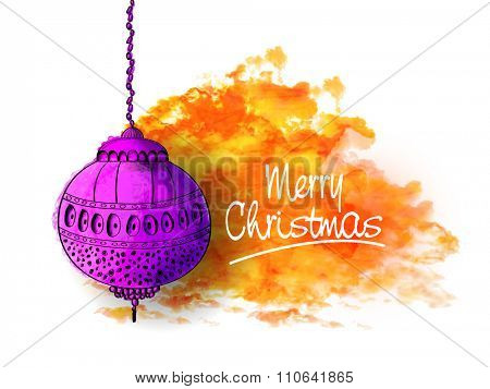 Greeting card design with floral purple Xmas Ball hanging on color splash background for Merry Christmas celebration.