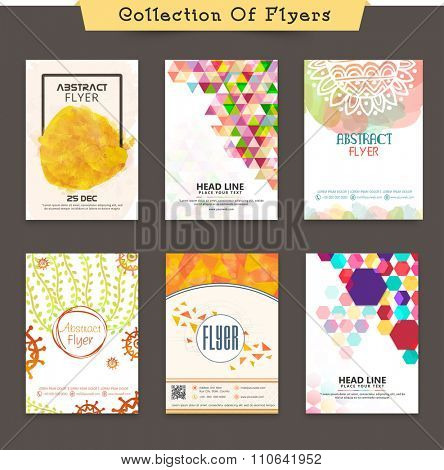 Collections of creative Business Flyer, Banner or Pamphlet with colorful abstract design.