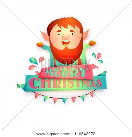 Illustration of a funny man celebrating and enjoying on occasion of Merry Christmas.