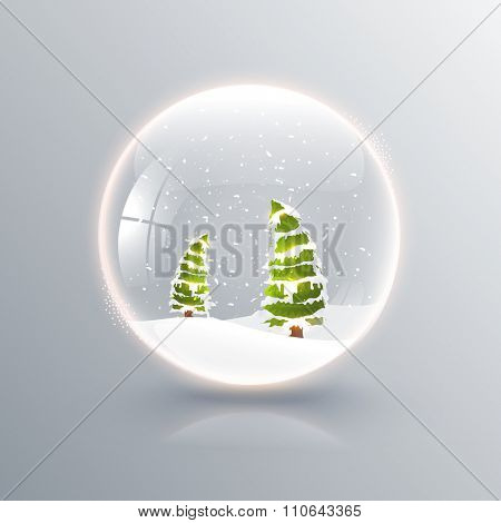 Creative Xmas Trees in glossy snow dome for Merry Christmas celebration.