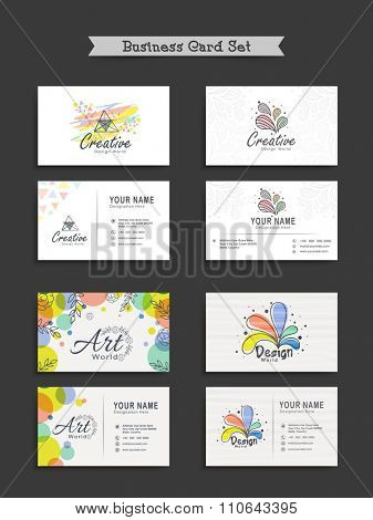 Set of creative Business Card, Name Card or Visiting Card with abstract design for your professions.