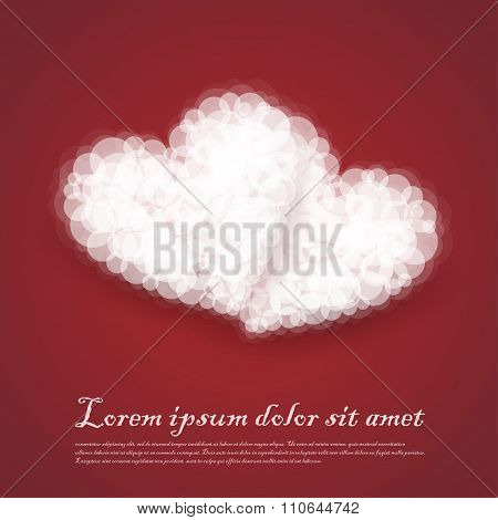 Dual Hearts Cluods Valentine Sentimental Red Abstract Background