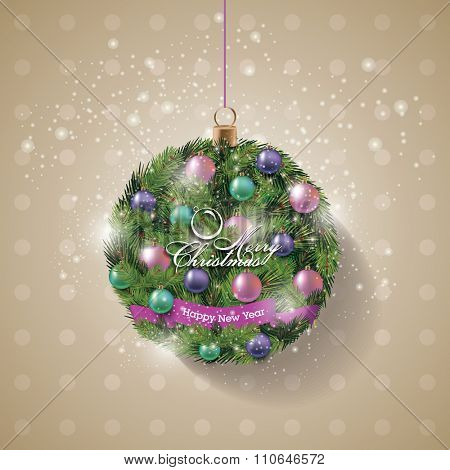 Christmas wreath. Christmas Banner. Vector Illustration.