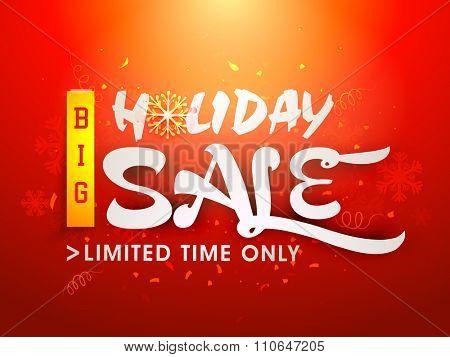 Elegant creative poster, banner or flyer design of Big Holiday Sale for Limited Time.