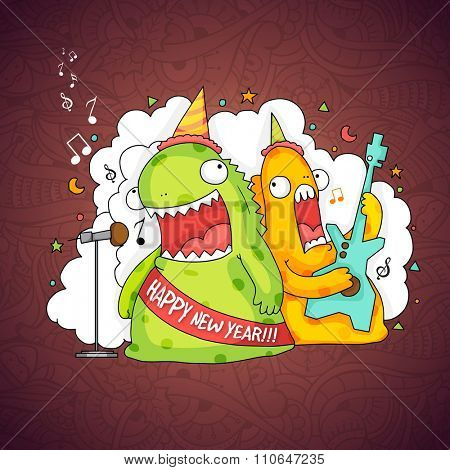 Illustration of funny monsters, singing and playing guitars on floral decorated background for Happy New Year celebration.