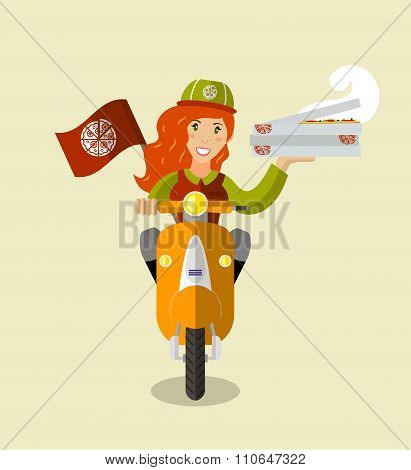 Food-deliverygirl On A Scooter With Boxes Of Pizza, Flat