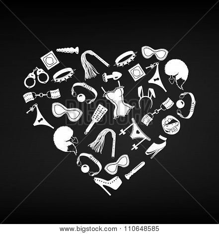 Sex Toys Bdsm Set Heart Form, Vector Illustration
