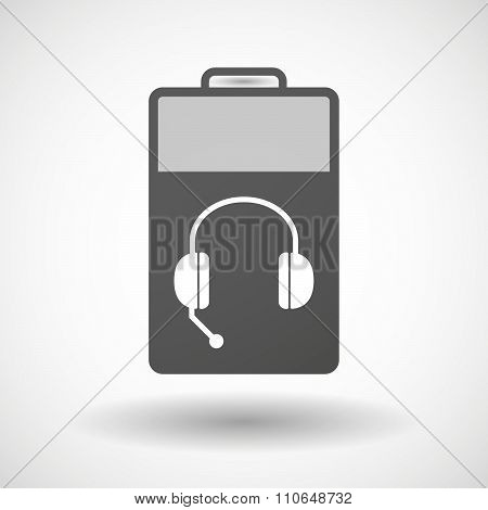 Isolated Battery Icon With  A Hands Free Phone Device