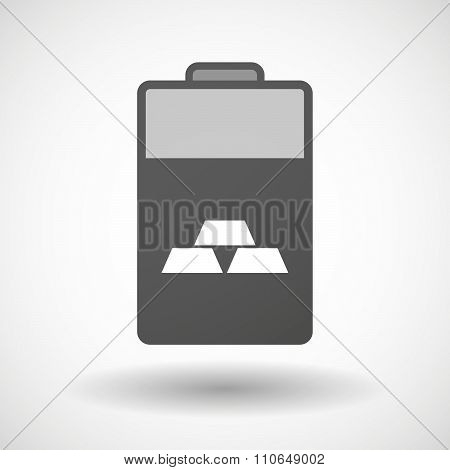 Isolated Battery Icon With Three Gold Bullions