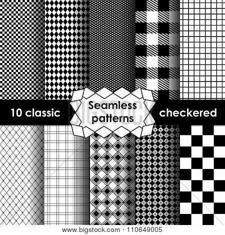 Set Of Checkered Simple Fabric Seamless Pattern In Black And White