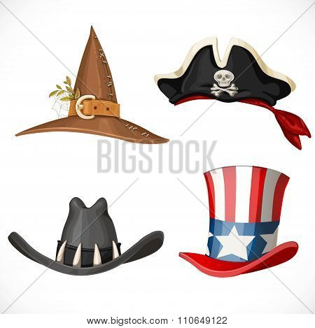 Set Of Hats For The Carnival Costumes -  Uncle Sam Hat, Witch Hat, Pirate Hat With Bandanna And Cowb