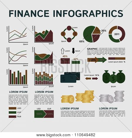 Set of Financial Infographics Elements on Grey Background
