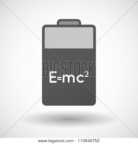 Isolated Battery Icon With The Theory Of Relativity Formula