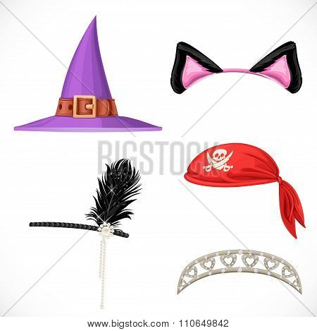 Set Of Hats For The Carnival Costumes -  Witch Hat, Pirate Red Bandanna, Tiara For Princess And Cat