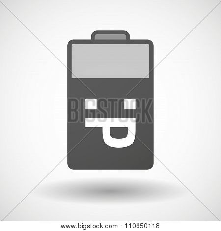 Isolated Battery Icon With A Sticking Out Tongue Text Face