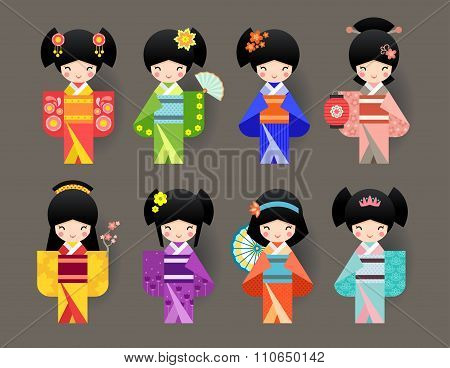Set of Japanese Kokeshi Dolls in kimono