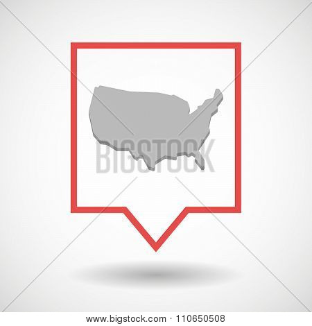 Isolated Tooltip Line Art Icon With  A Map Of The Usa